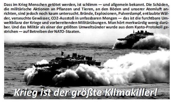 """Text und Kriegsbild (Panzer in der Wüste) zum Thema """"Krieg als Klimakiller"""""""