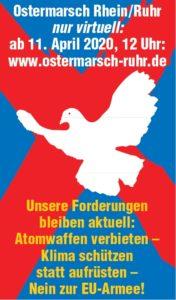 Plakat zum virtuellen Ostermarsch 2020 Rhein-Ruhr